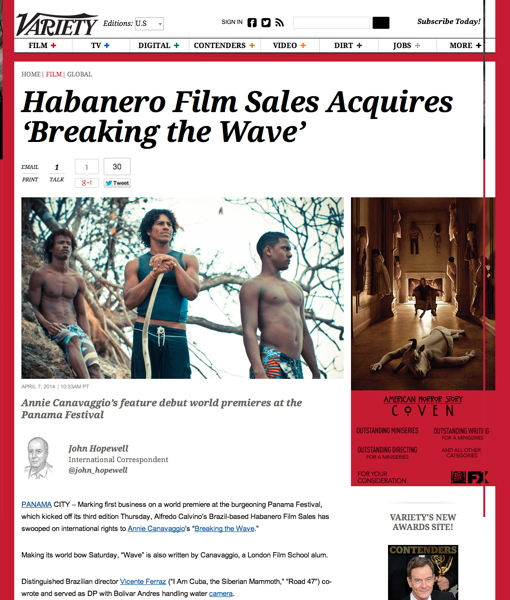 Habanero Film Sales Acquires 'Breaking the Wave' | VarietyPOST